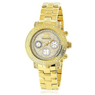 Luxurman Women's Yellow/Gold plated Diamond Watch Metal Band plus Extra Leather Straps