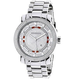 Luxurman Men's Stainless Steel Diamond Watch with Metal Band and Extra Leather Straps