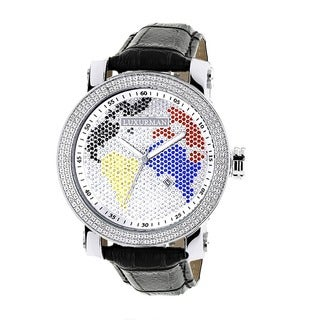 Luxurman Men's Worldface Diamond Watch with Leather Strap Set