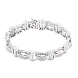 Sterling Silver 1 1/4ct TDW Diamond Men's Bracelet (H-I, SI1-SI2)