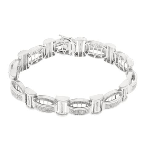 Sterling Silver 1 1/4ct TDW Diamond Men's Bracelet