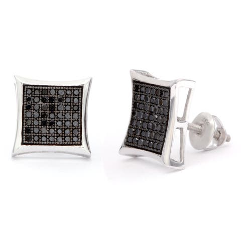 Sterling Silver 1/2ct Black Diamond Stud Earrings