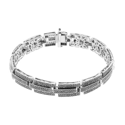 Sterling Silver 3 3/5ct TDW Diamonds Men's Link Bracelet