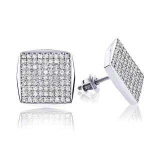 Luxurman 14k White Gold Square Shaped 7/8ct TDW Diamond Stud Earrings