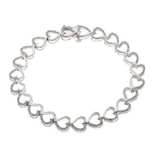 Sterling Silver 2/5ct TDW Diamond Heart Bracelet