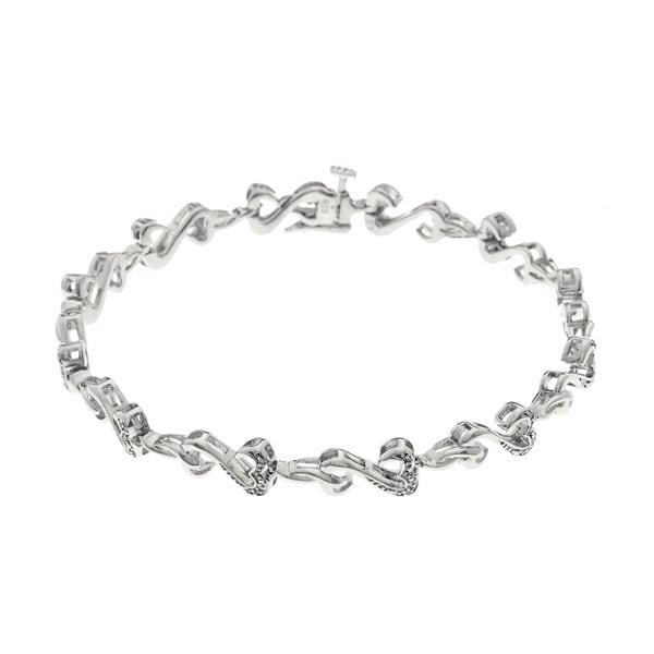 Sterling Silver 1/8ct TDW Diamond Heart Bracelet