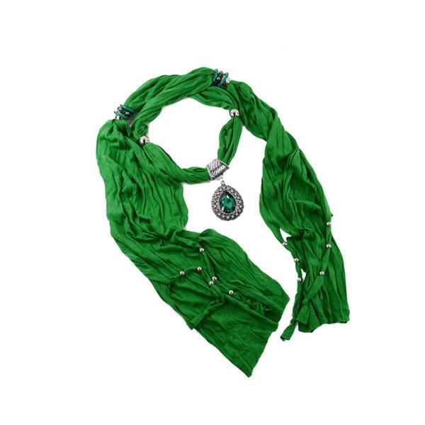 Teal Heart Pendant Fashion Jewelry Scarf