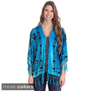 Hand-Made Embroidered Velvet-and-Silk Open-Front Shawl Jacket