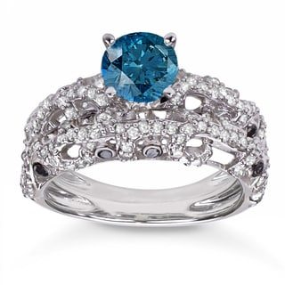 10k White Gold 2ct TDW Blue and White Diamond Bridal Ring Set (H-I, I1-I2)