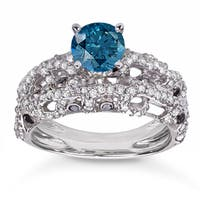 10k White Gold 2ct TDW Blue and White Diamond Bridal Ring Set