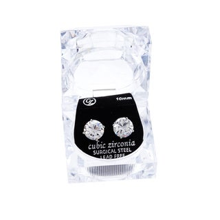 Simon Frank Round-cut Cubic Zirconia 10 mm Stud Earring with Gift Box