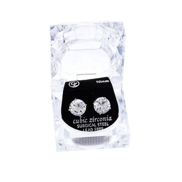 Simon Frank Designs Round-cut Bright White Cubic Zirconia 10 mm Stud Earring with Crystal Gift Box