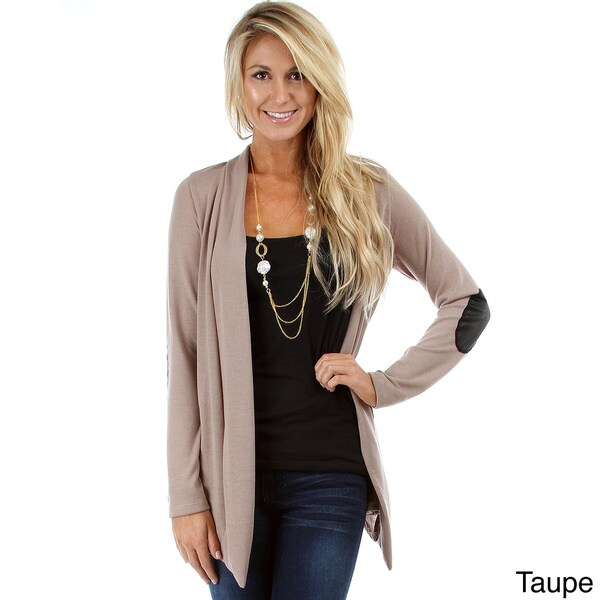 Lyss Loo Women's Cardigan with PU Leather Elbow Patch