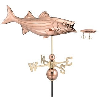 Bass with Lure Pure Copper Weathervane by Good Directions