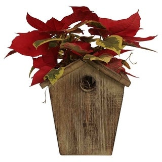Wald Imports Rustic Wood Birdhouse Planter (Set of 4)