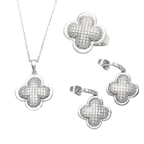 Sterling Silver Micro-Pave Cubic Zirconia Clover Necklace, Earring and Ring Set