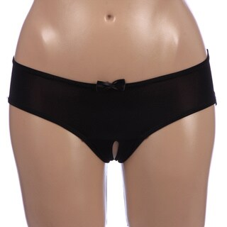 Rene Rofe Crotchless Black Boyshort with Ribbon Windows