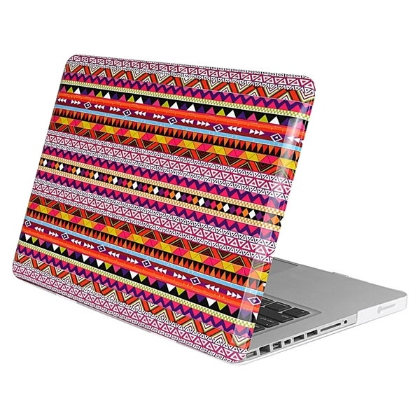 INSTEN Red Tribal Rubber Coated Laptop Case Cover for Apple MacBook Pro 13-inch