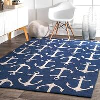 nuLOOM Indoor/ Outdoor Novelty Nautical Anchors Rug (5' x 8') - 5' x 8'