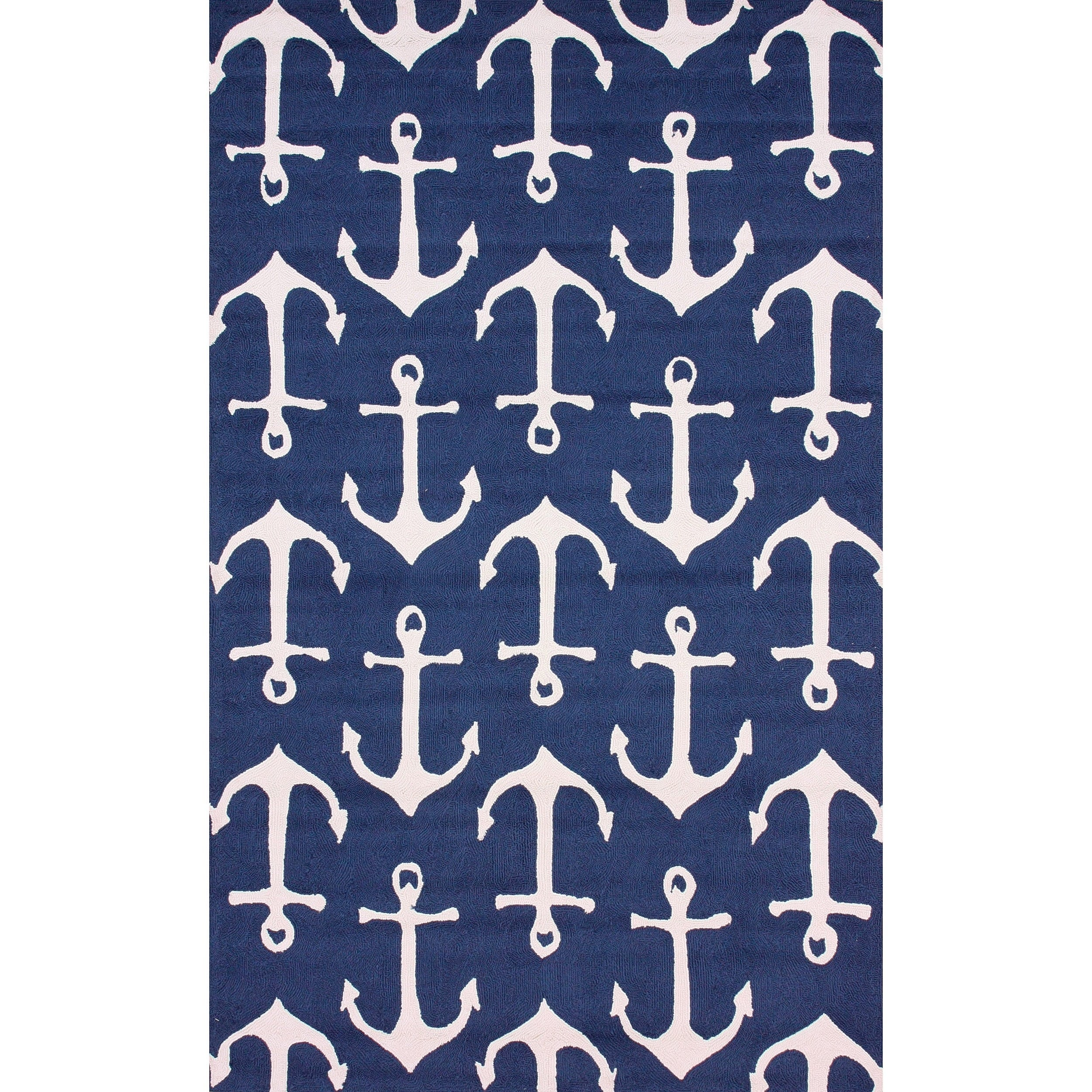 nuLOOM Indoor Outdoor Novelty Nautical Anchors Rug 5 x 8