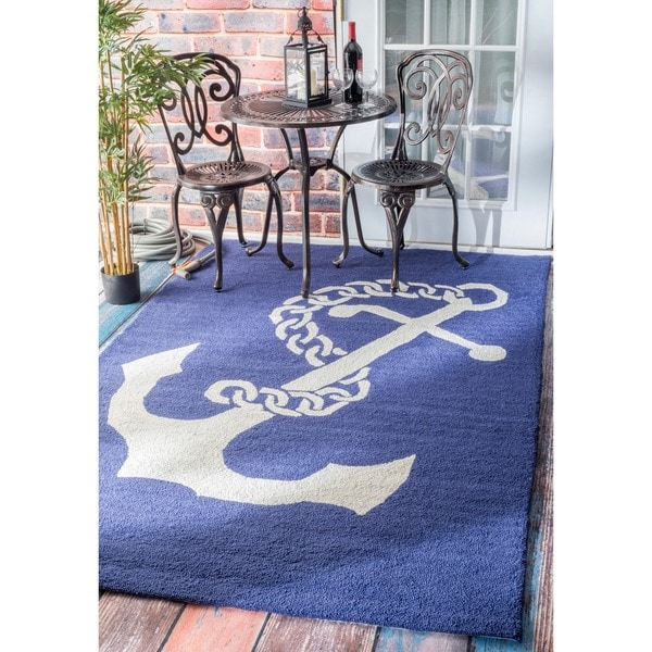 Shop Nuloom Indoor Outdoor Novelty Nautical Anchors Navy