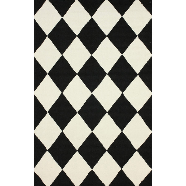 Black And White Checkered Rug: Shop NuLOOM Hand-hooked Checkered Diamond Black Rug