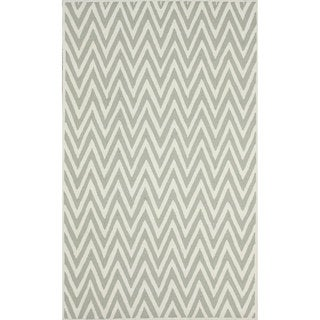 nuLOOM Handmade Cotton/ Wool Modern Chevron Grey Rug (5' x 8')
