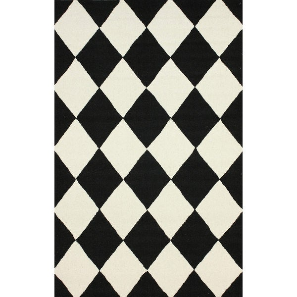 Nuloom Hand Hooked Checkered Diamond Black Rug 7 6 X 9 6