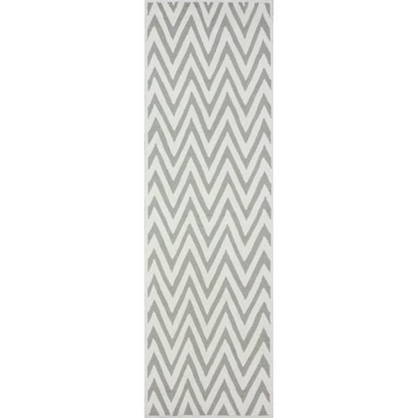 Chevron Denim Wool Rug: Shop NuLOOM Handmade Cotton/ Wool Modern Chevron Grey