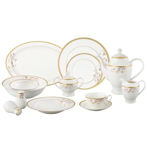 Lorren Home Trends La Luna Bone China 57-piece Gold Floral Design Dinnerware Set