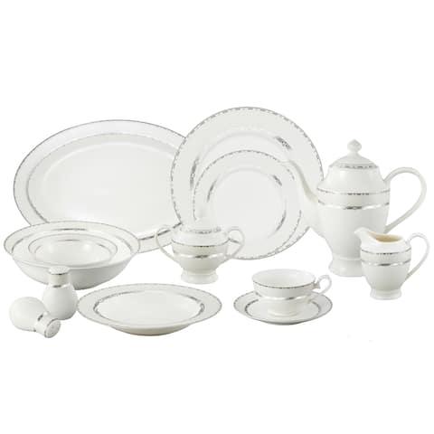 Lorren Home Trend La Luna Bone China 57-piece Silver Embossed Dinnerware Set