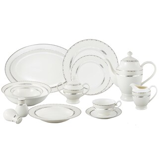 Lorren Home Trend La Luna Bone China 57-piece Silver Embossed Dinnerware Set  sc 1 st  Overstock.com & American Atelier Alyssa Gold Bone China Square 16-piece Dinnerware ...