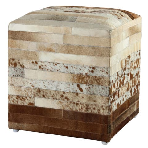 21-inch Brown Leather Striped Hide Pouf Ottoman