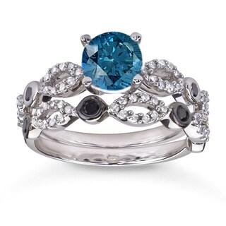 10k White Gold 1 1/2ct TDW Blue and Black Diamond Bridal Ring Set