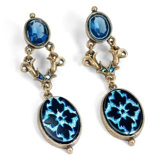 Sweet Romance Vintage Peacock Glass Iridescent Blue Earrings