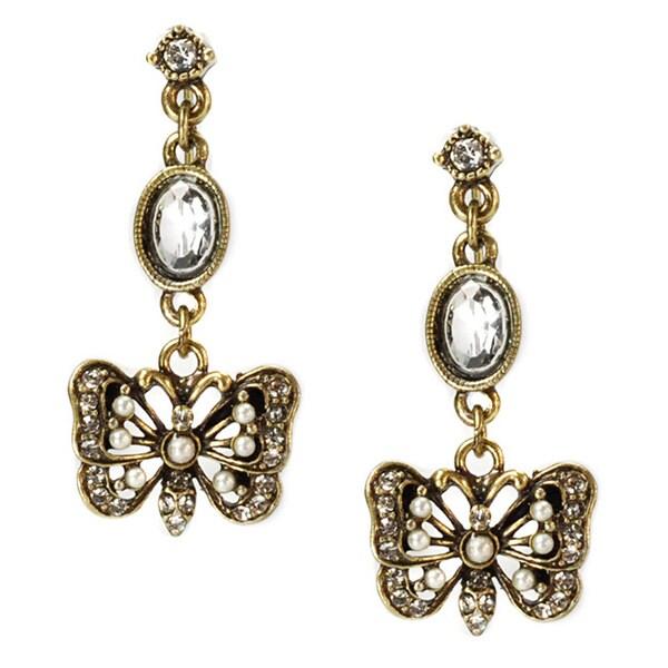 Sweet Romance Bronzetone Crystal Butterfly Dangle Earrings