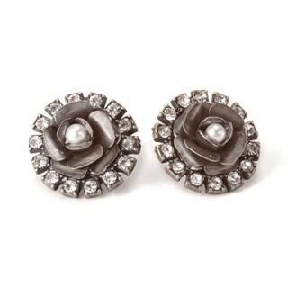 Sweet Romance Bronzetone or Silvertone Crystal Rose Earrings