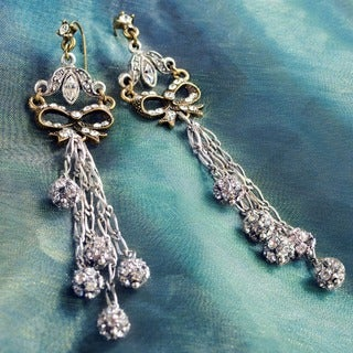 Sweet Romance Victorian Bow and Crystal Wedding Boho Earrings