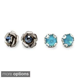 Sweet Romance Rose and Crystal Stud Earrings Set