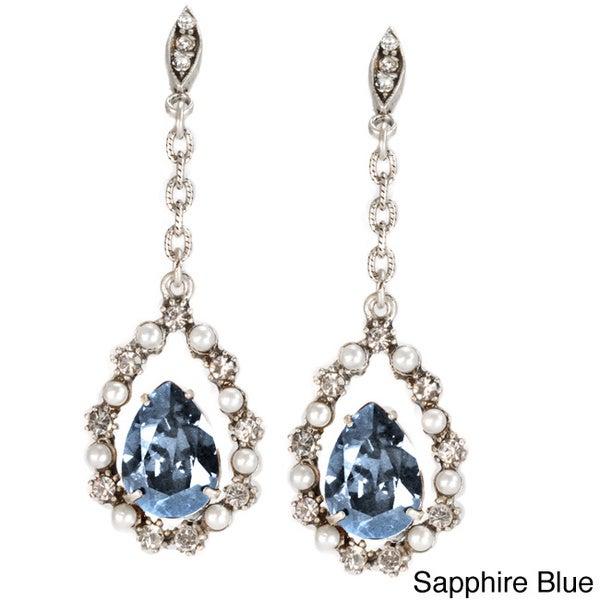 Sweet Romance Silvertone Lorena Crystal Earrings