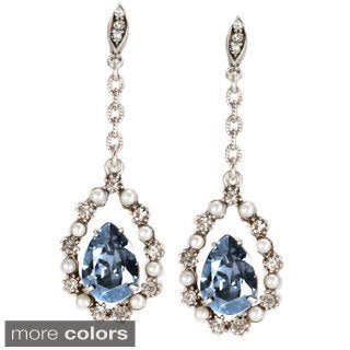Sweet Romance Silvertone Lorena Crystal Earrings