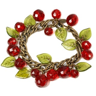 Sweet Romance Retro Cherries Crystal Charm Bracelet
