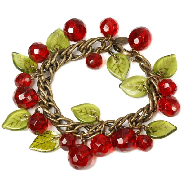 Sweet Romance Retro Cherries Crystal Charm Bracelet