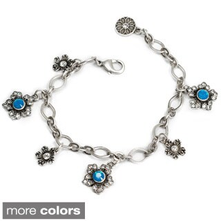 Sweet Romance Bronzetone or Silvertone Jasmine Flower Charm Bracelet