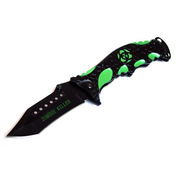 Defender Zombie Killer Spring Assisted Black and Green Folding Knife
