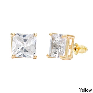 Simon Frank Designs Princess-cut Bright White 10mm CZ Stud Earring with Crystal Gift Box