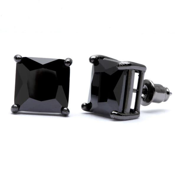 Simon Frank Designs 10 mm Princess Cut  Jet Black CZ Stud Earrings with Crystal Gift Box