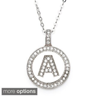 Eternally Haute Sterling Silver Pave Initial Disc Pendant