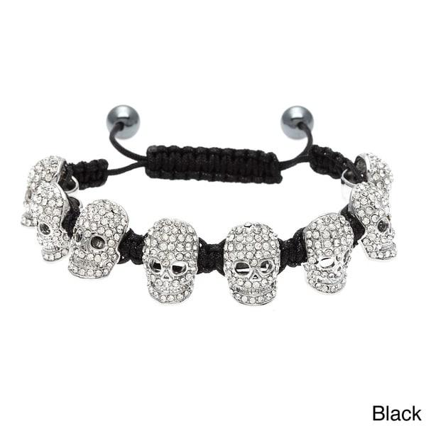 Eternally Haute Crystal Skull Macrame Bracelet with Hematite Beads
