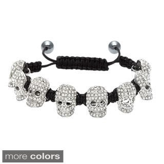 Eternally Haute Crystal Skull Macrame Bracelet with Hematite Beads